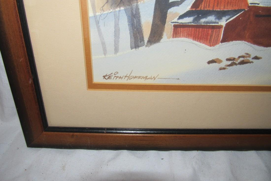 Keith Hoffman Winter Barn Country Scene Water Color - 2