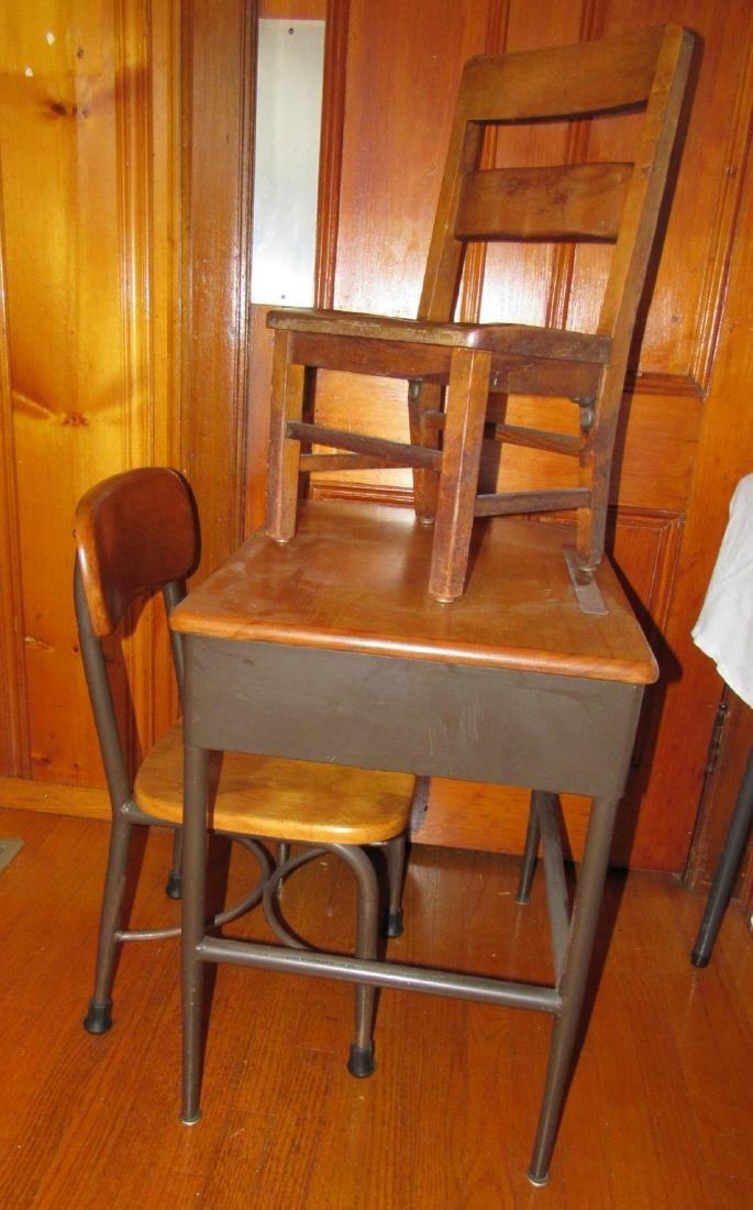 Childs School Desk & 2 Chairs