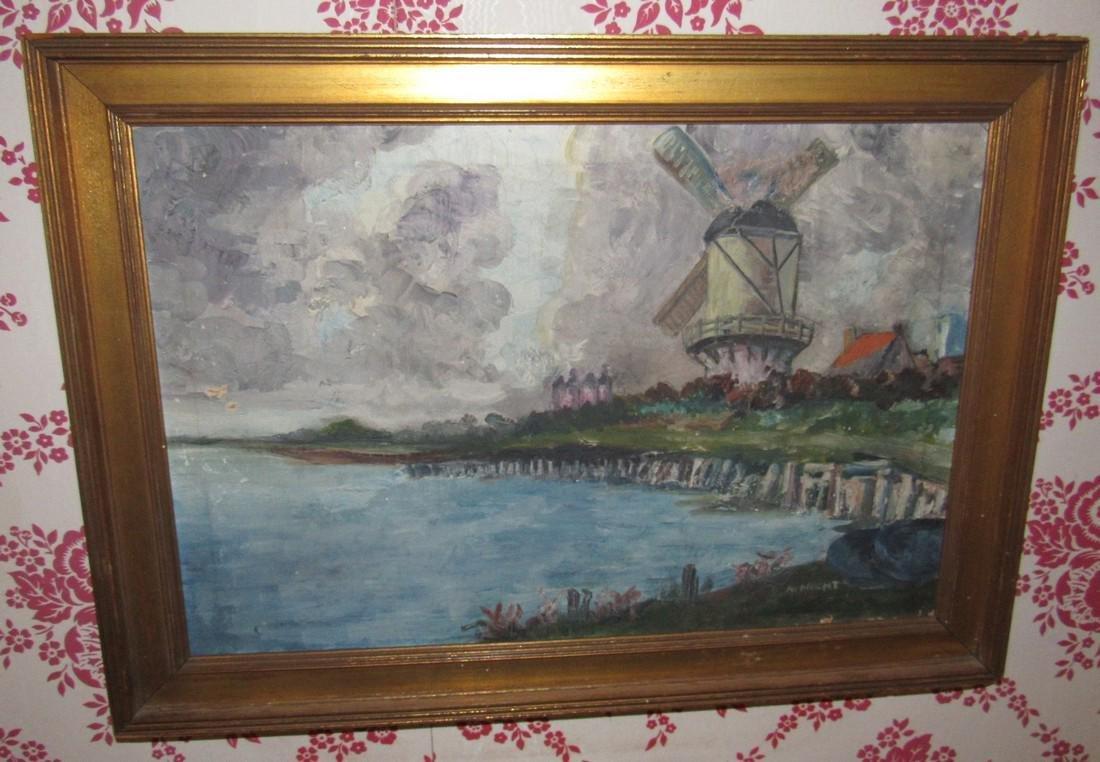 Hecht Oil on Canvas Painting Windmill Ocean Scene