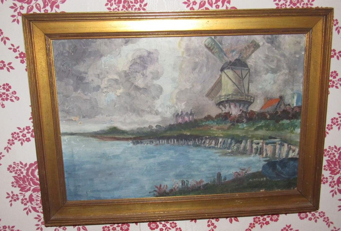 Hecht Oil on Canvas Painting Windmill Ocean Scene - 2