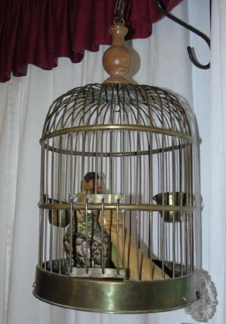 Brass Bird Cage w/ Carved Parrots