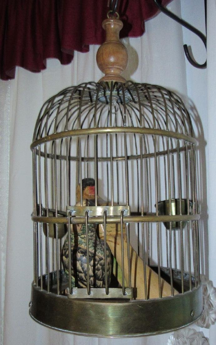 Brass Bird Cage w/ Carved Parrots - 2