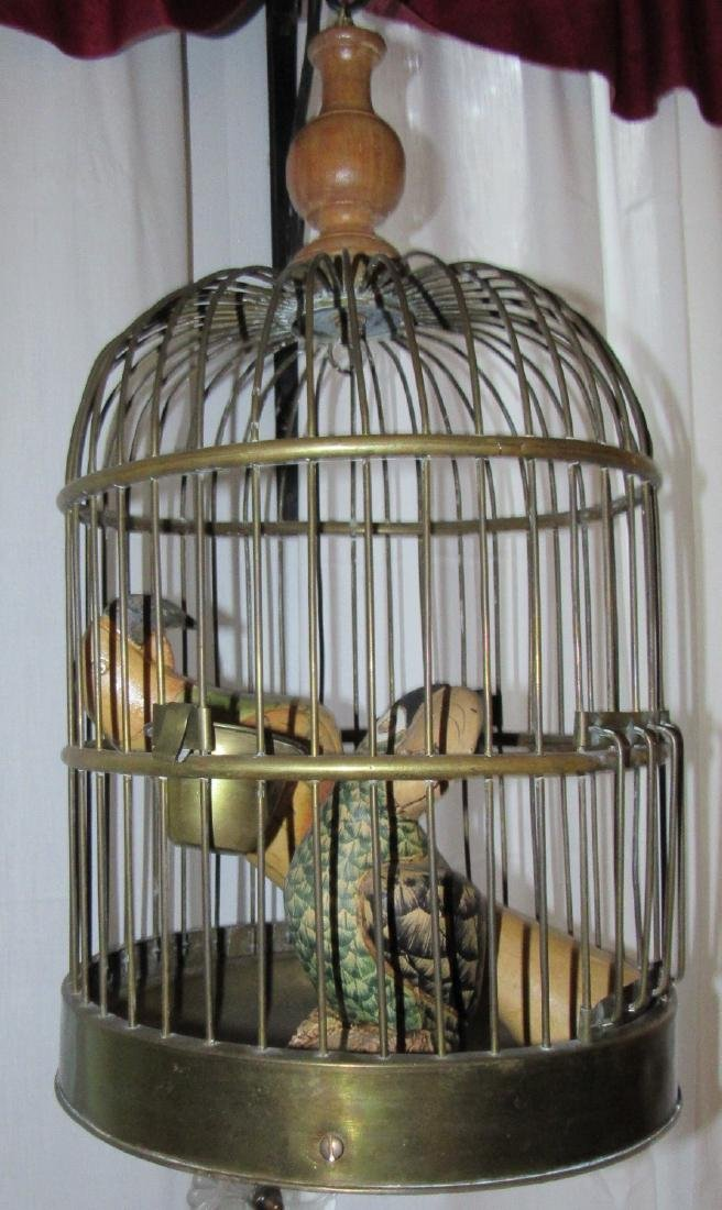 Brass Bird Cage w/ Carved Parrots - 3