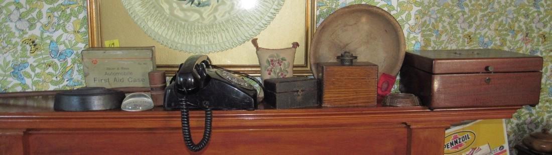 Document Index Card Box Rotary Telephone Sad Iron
