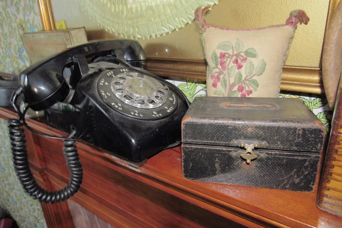 Document Index Card Box Rotary Telephone Sad Iron - 4