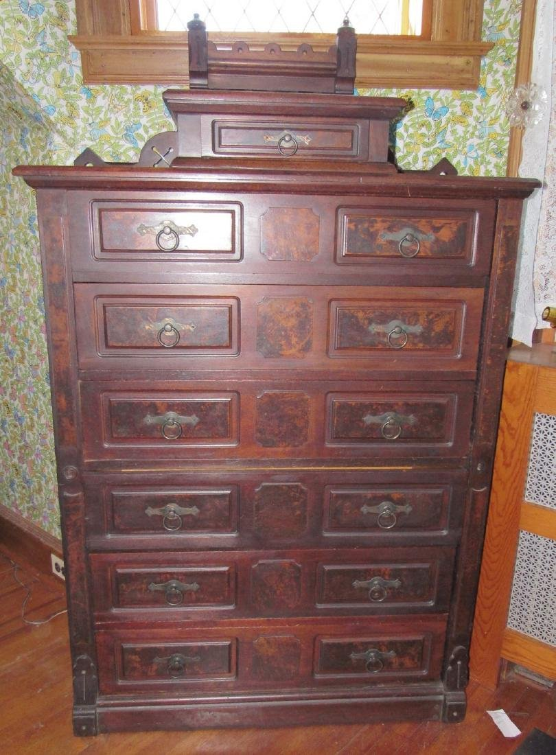Walnut Victorian Side Lock Chest of Drawers