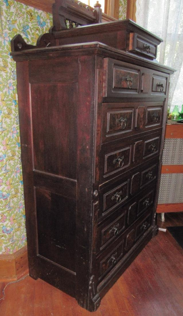 Walnut Victorian Side Lock Chest of Drawers - 2