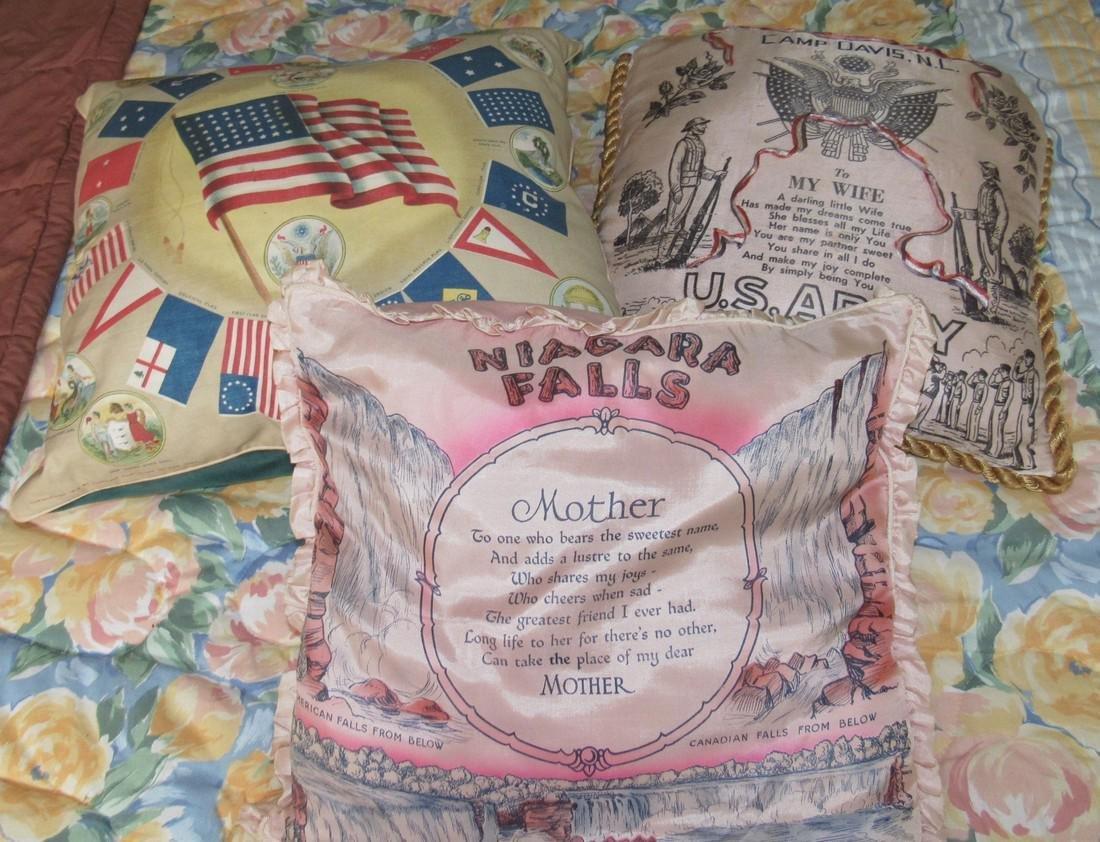 US Flags Seals Camp Davis & Niagra Falls Pillows