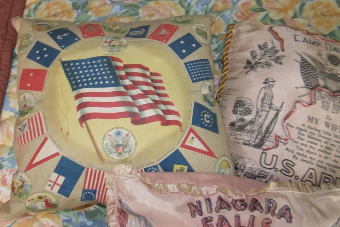US Flags Seals Camp Davis & Niagra Falls Pillows - 2