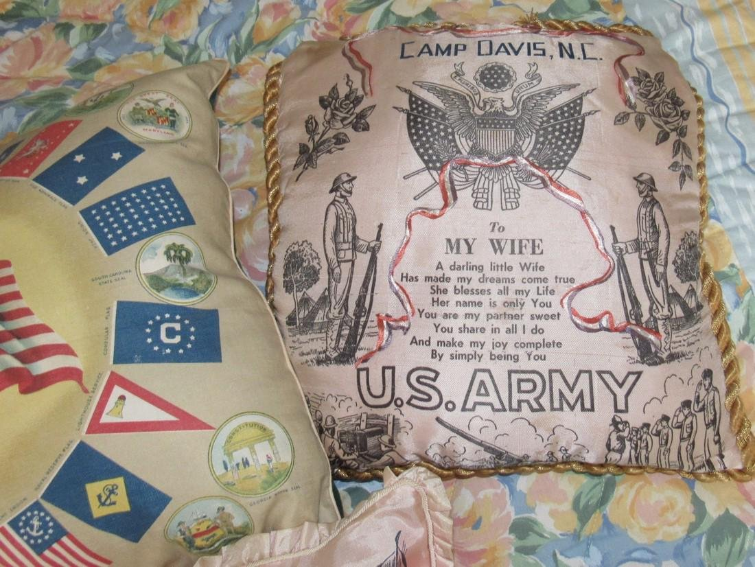 US Flags Seals Camp Davis & Niagra Falls Pillows - 3