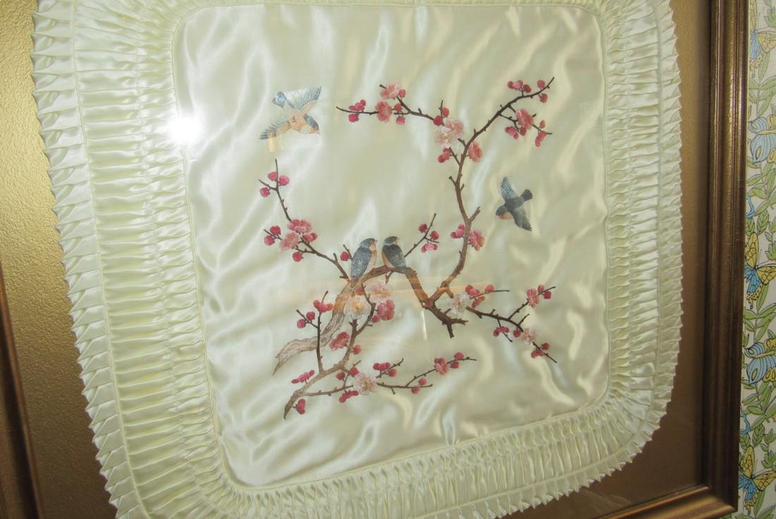 Framed Ebroidered Birds Pillow Case - 2