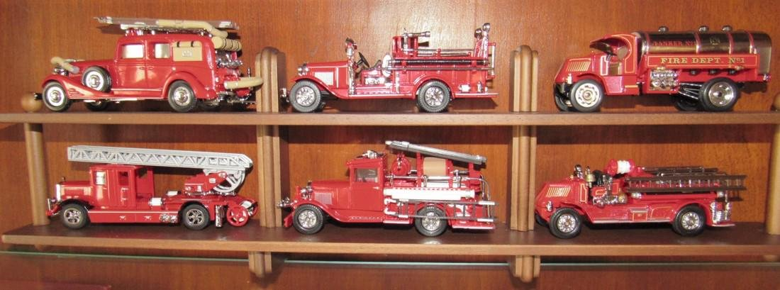 6 Matchbox Models of Yesteryear Fire Truck Toys & Shelf