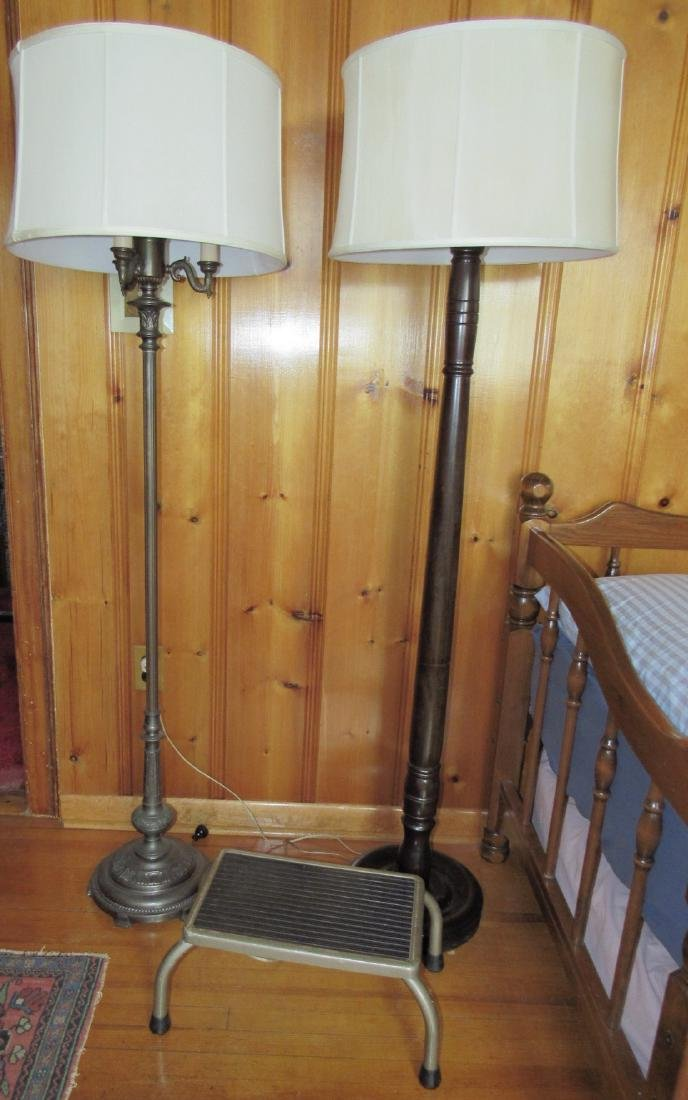 Iron & Wooden Floors Lamps w/ Vintage Step Stool