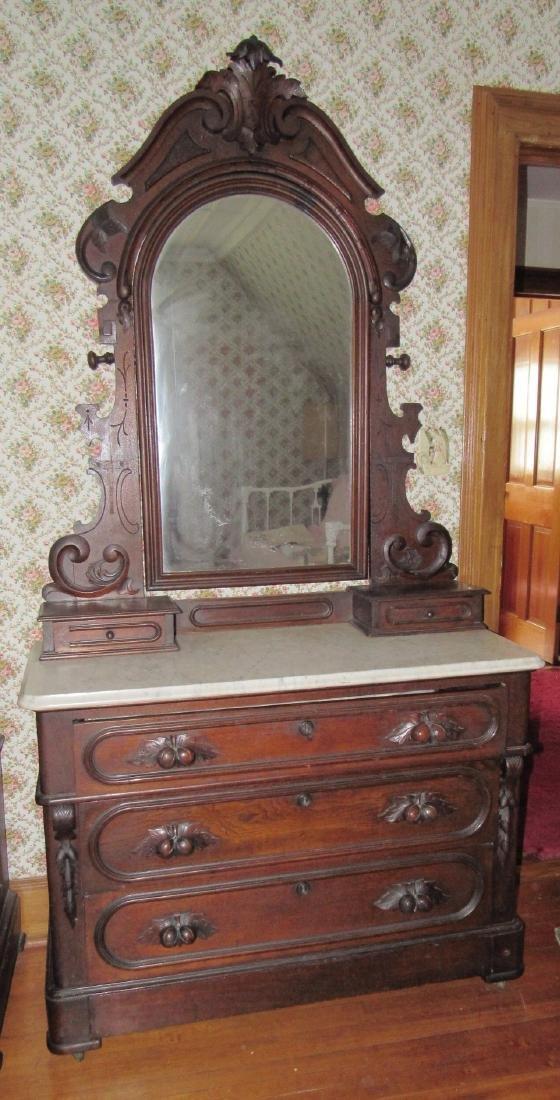Walnut Victorian Marble Top Dresser with Mirror