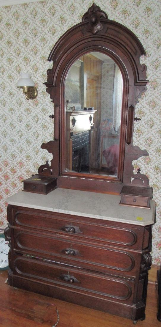 Walnut Victorian Dresser with Marble Top