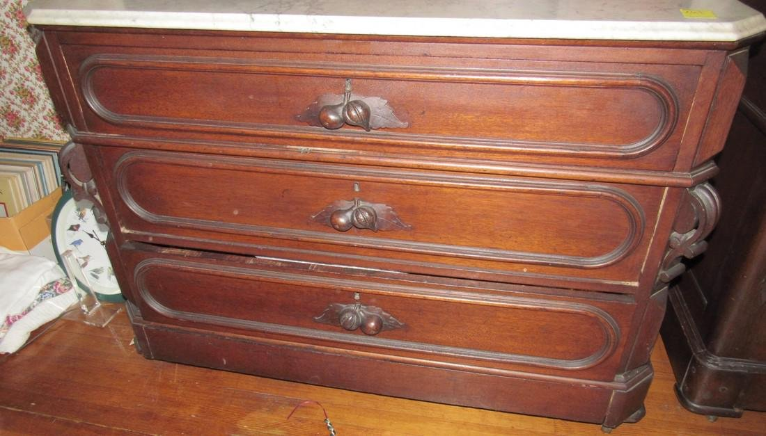 Walnut Victorian Dresser with Marble Top - 4