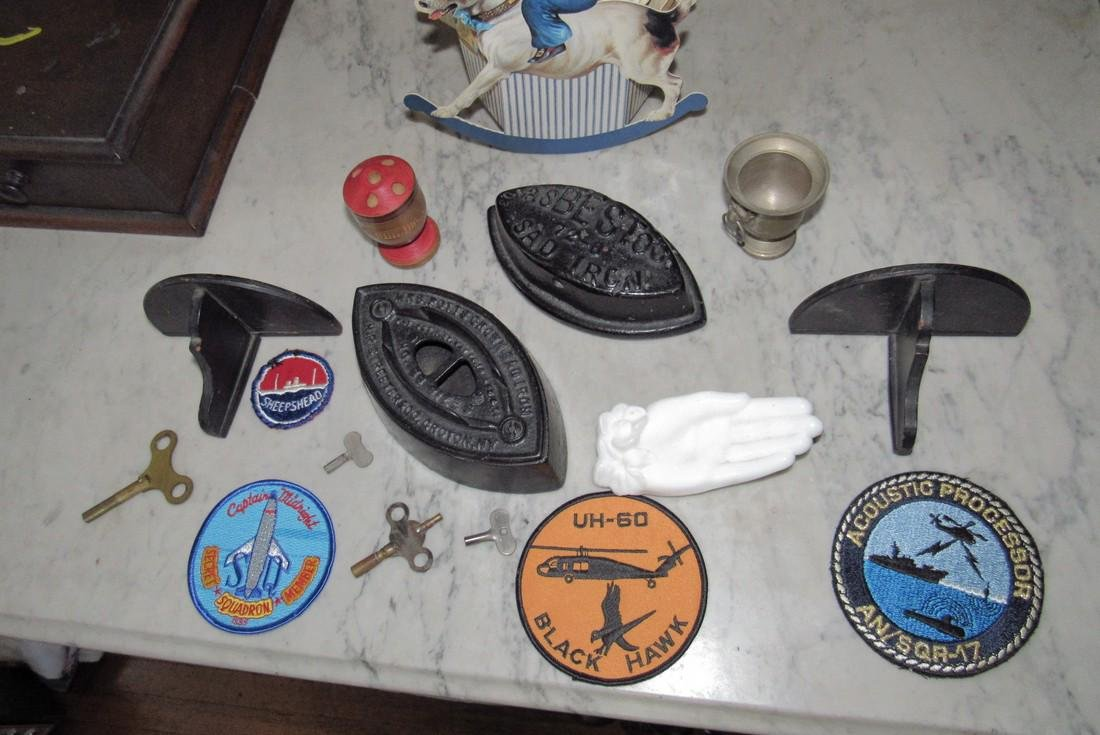 Sad Irons Shelves Military Patches Clock Keys - 2