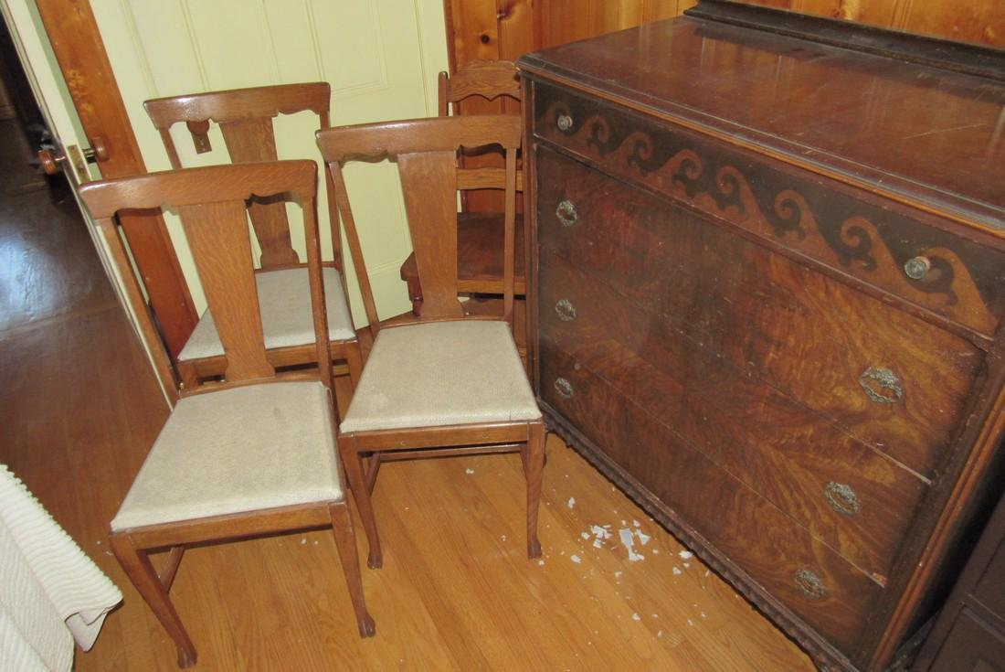 Art Deco Style Dresser and 4 Oak Chairs