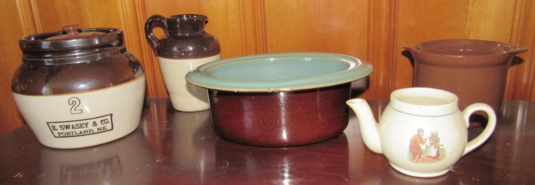 E Swasey Co. Portland Maine Bean Pot Stoneware