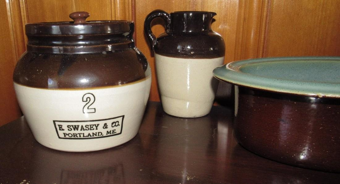 E Swasey Co. Portland Maine Bean Pot Stoneware - 2