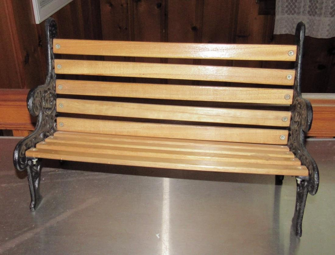 Cast Iron & Wood Doll Bench