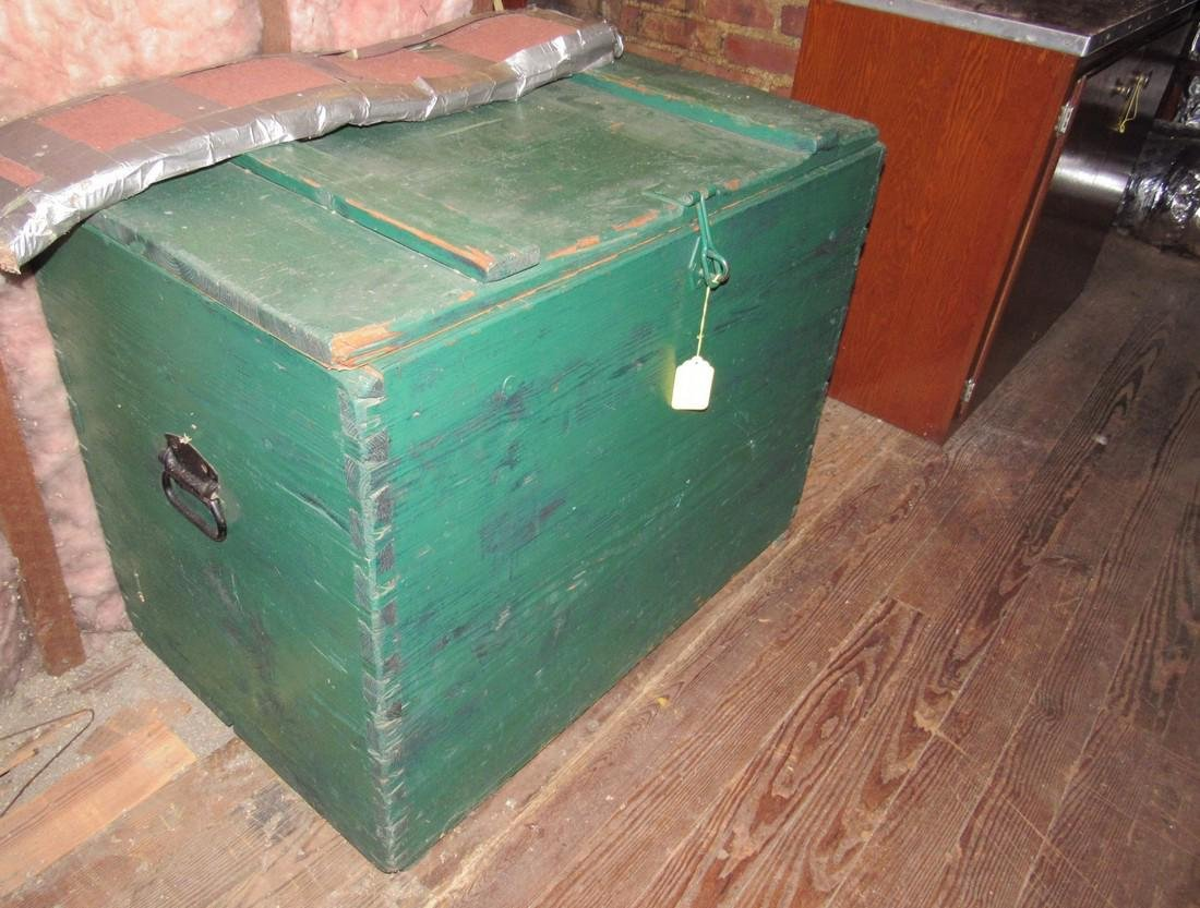 2 Green Painted Boxes & 4 Cabinets