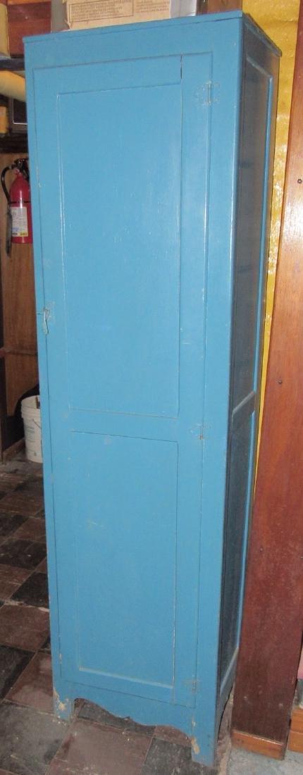 One Door Wooden Cabinet w/ Misc Pyrex Lids Coffee Pot
