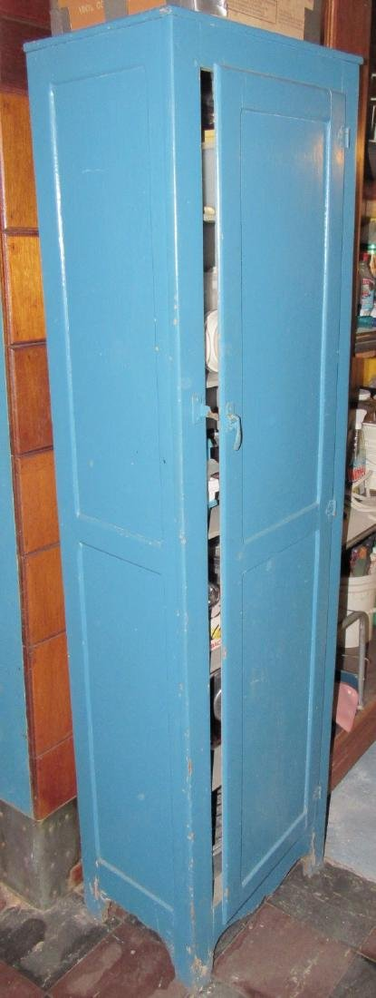 One Door Wooden Cabinet w/ Misc Pyrex Lids Coffee Pot - 2