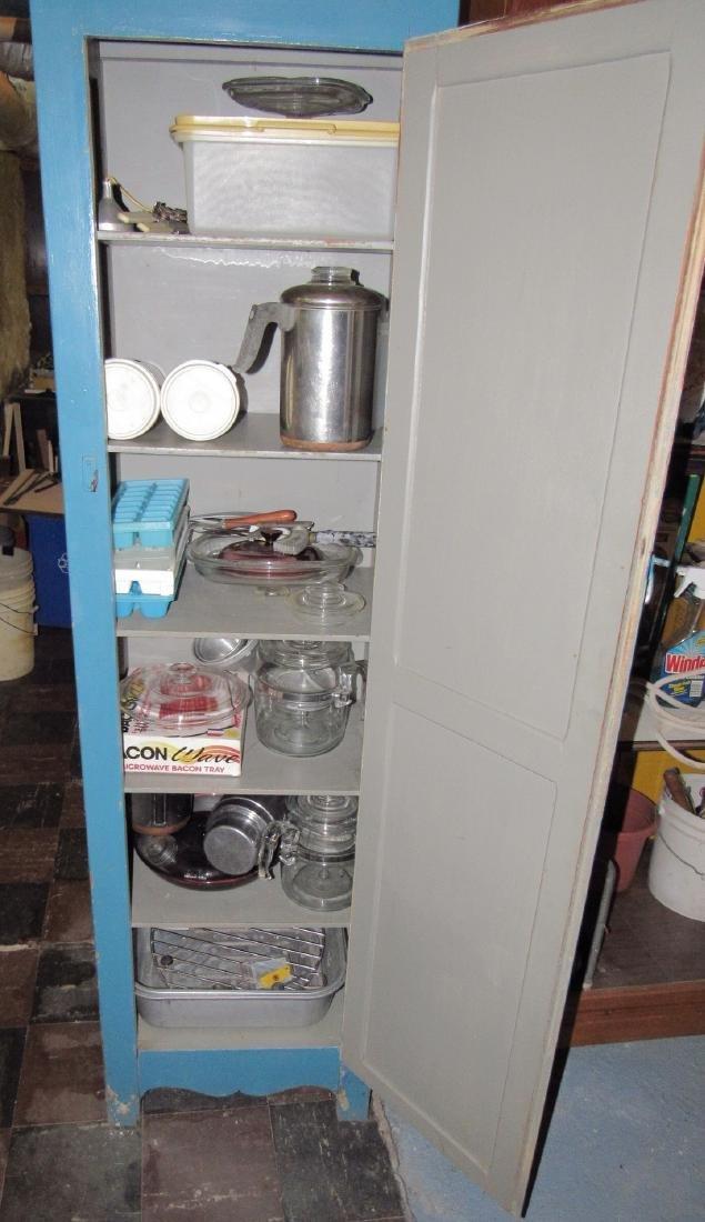 One Door Wooden Cabinet w/ Misc Pyrex Lids Coffee Pot - 3