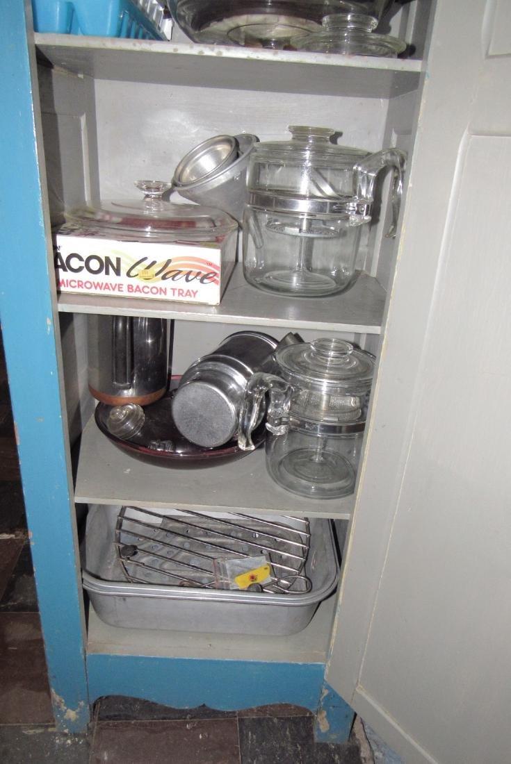 One Door Wooden Cabinet w/ Misc Pyrex Lids Coffee Pot - 4