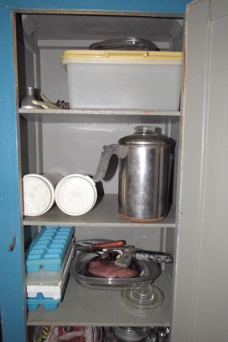 One Door Wooden Cabinet w/ Misc Pyrex Lids Coffee Pot - 5