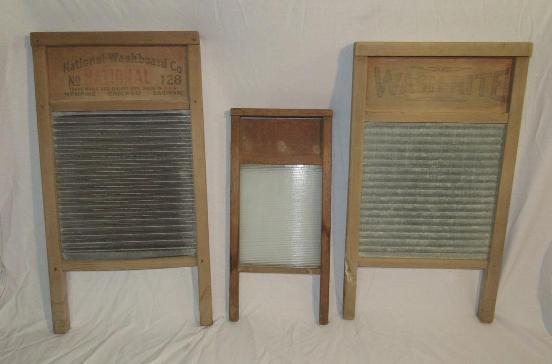 3 Antique Washboards