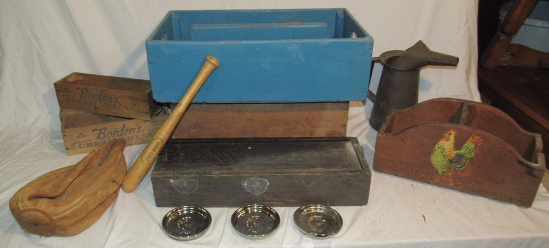 Borden's Cheese Boxes Blue Painted Wood Tote