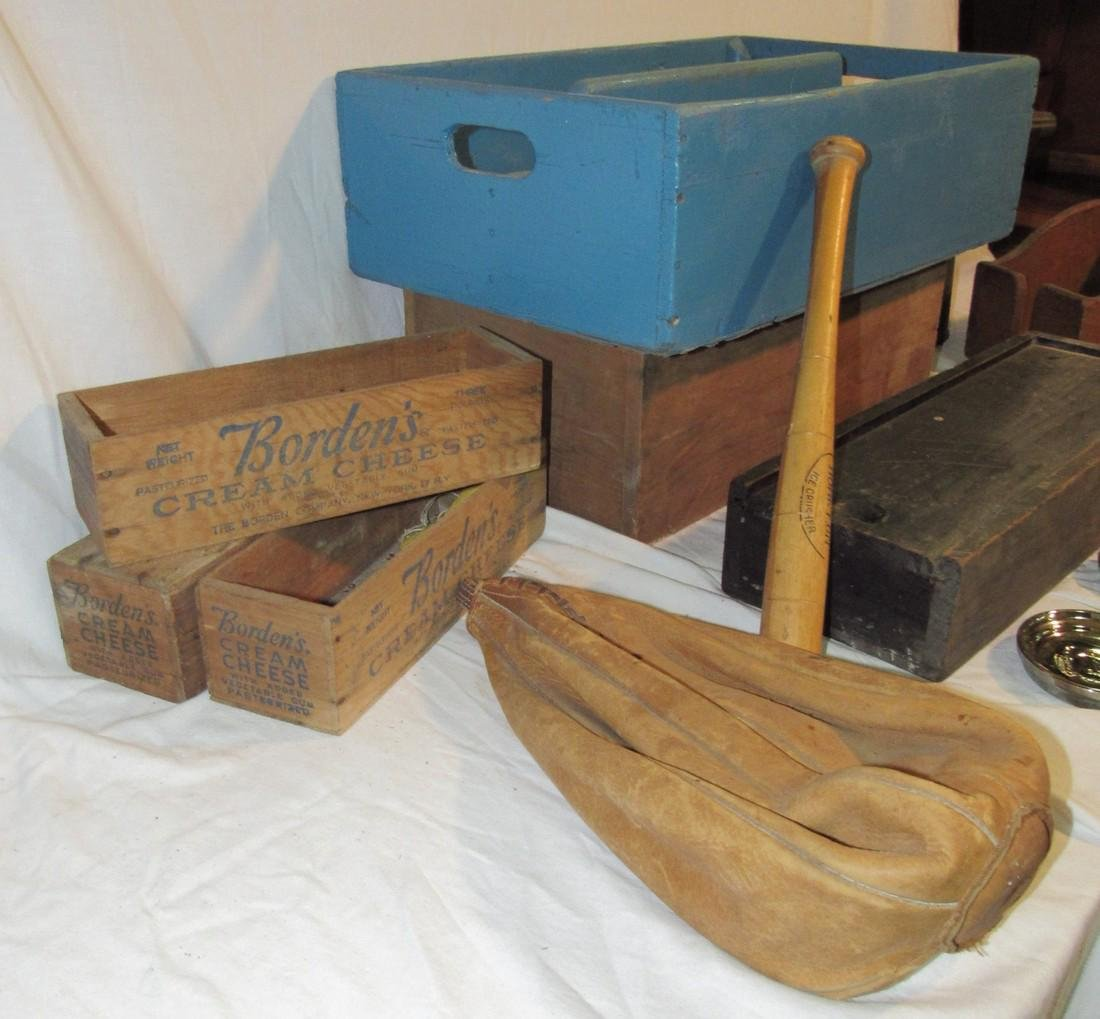 Borden's Cheese Boxes Blue Painted Wood Tote - 2