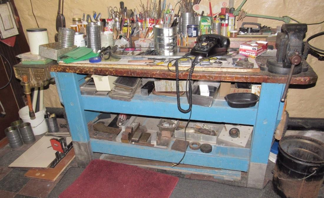 Blue Painted Work Bench Only