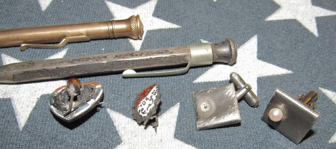 Misc Sterling Silver Pins & Gold Filled Lead Pencil - 2