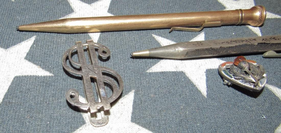 Misc Sterling Silver Pins & Gold Filled Lead Pencil - 3