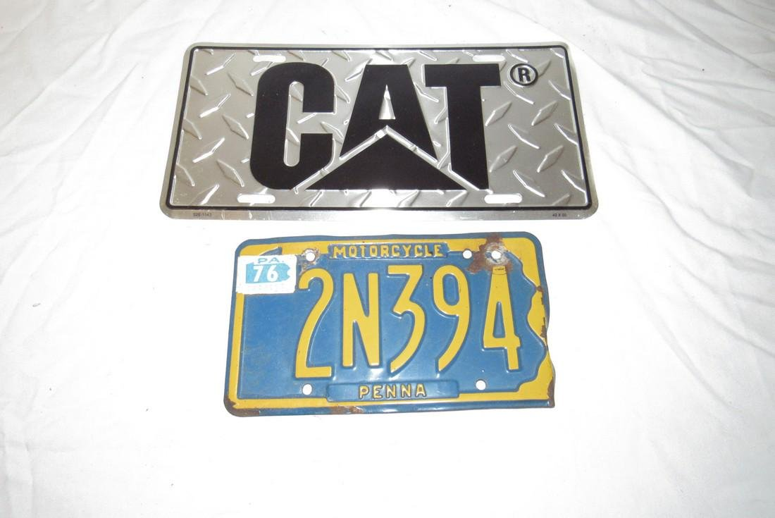 Pa Motorcycle License Plate & Cat Equipment Tractor