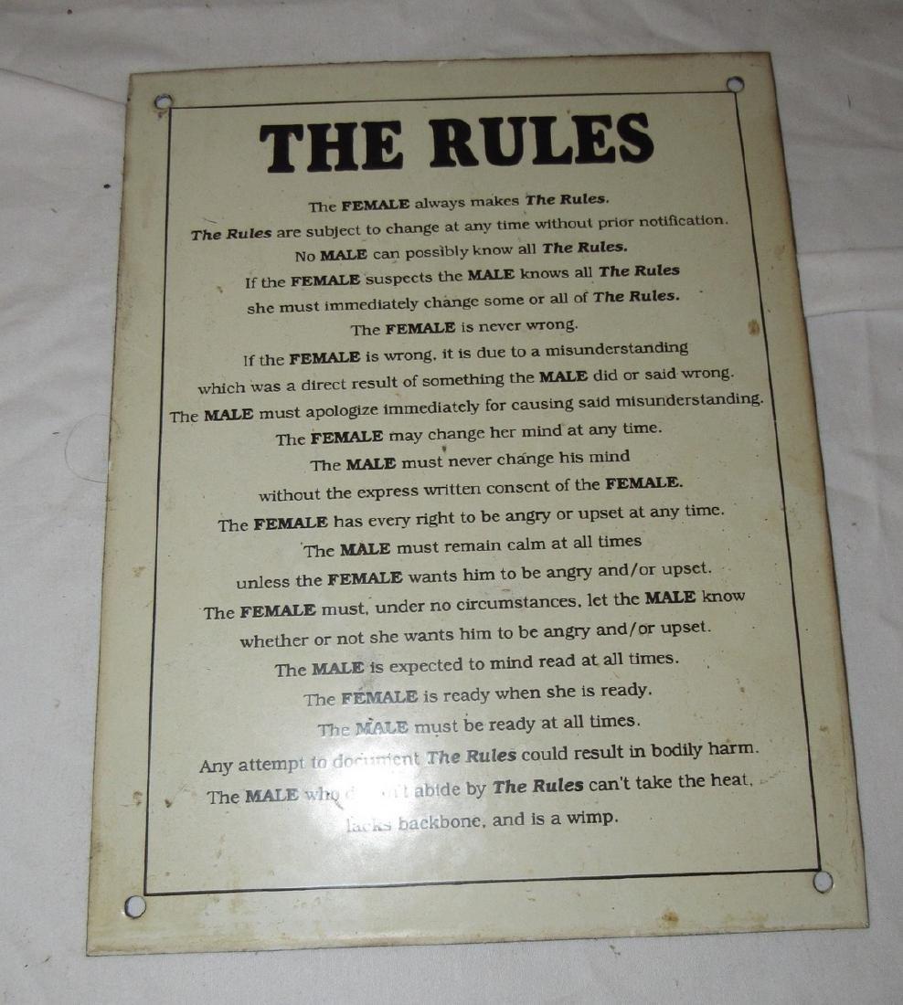 Porcelain Rules Sign