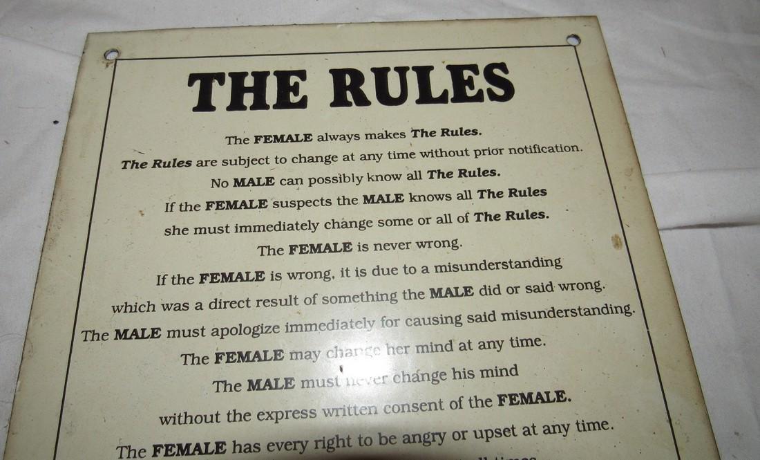 Porcelain Rules Sign - 2