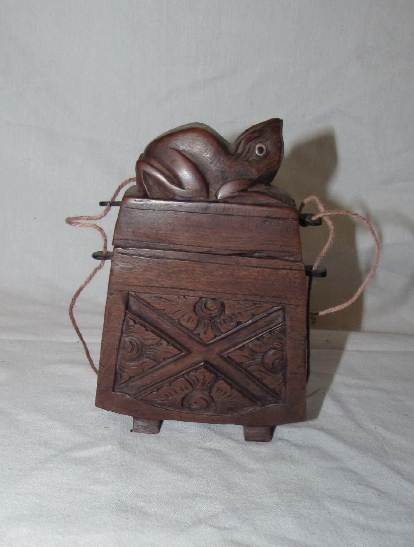 Carved Wooden Frog Cigarette Holder Box