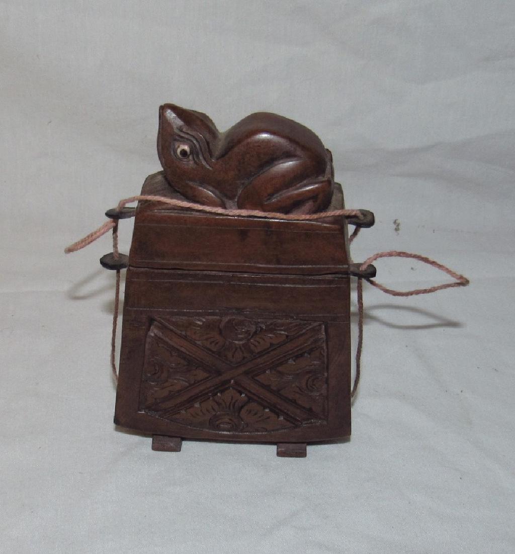 Carved Wooden Frog Cigarette Holder Box - 5