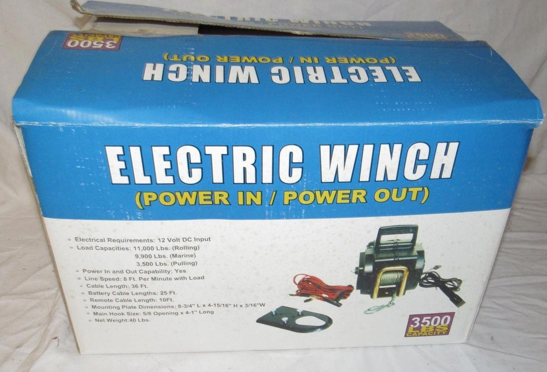 3500lb Capacity Electric Power In/Out Winch