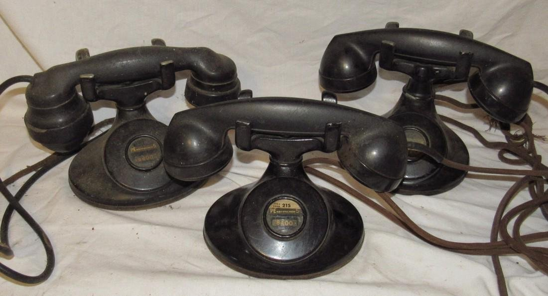 3 Antique Bell System Western Electric Telephones