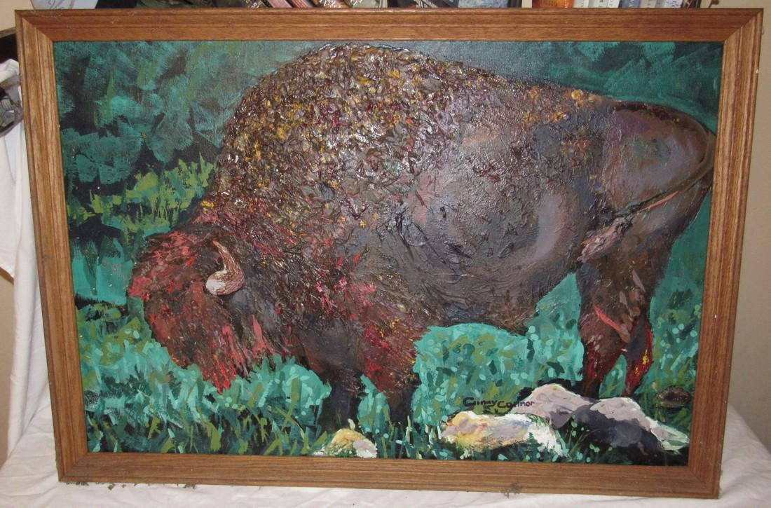 Buffalo Oil Painting on Canvas by Ginny Connor