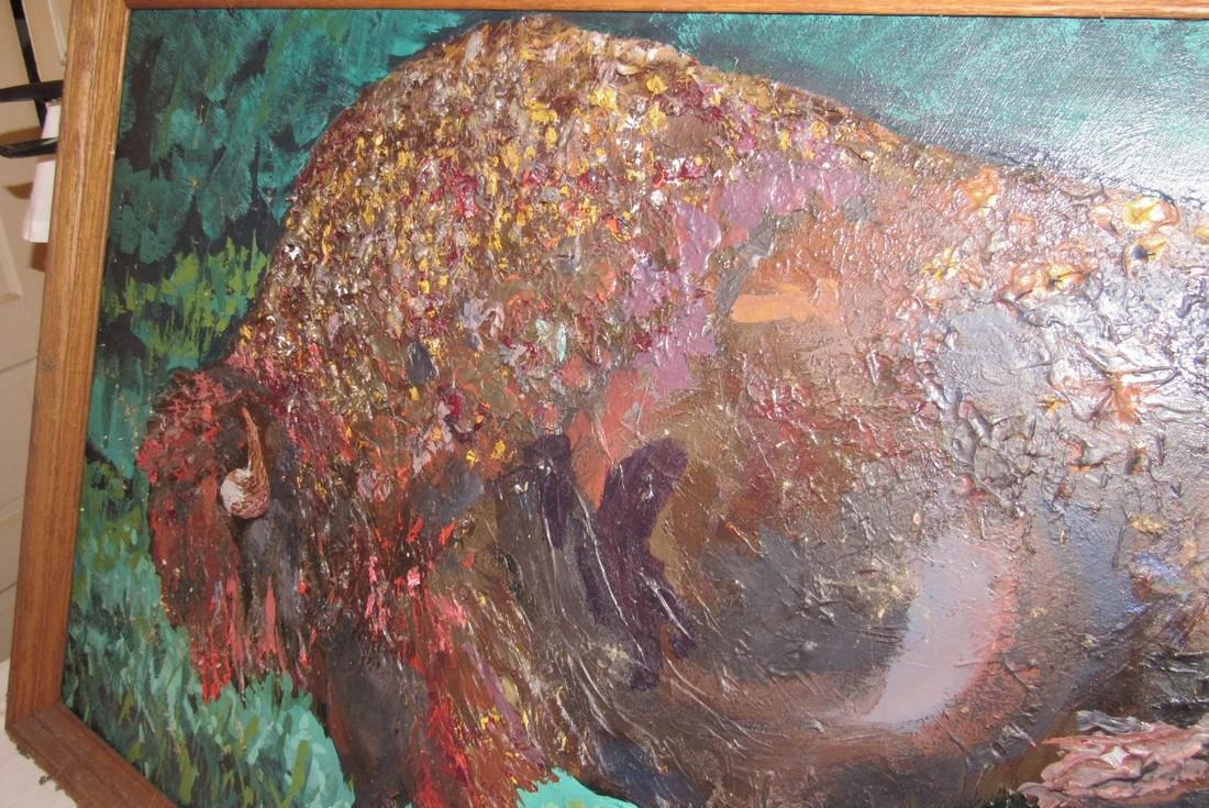 Buffalo Oil Painting on Canvas by Ginny Connor - 3
