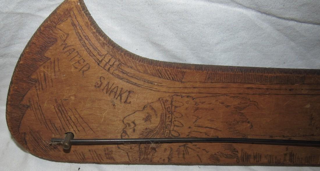 Flemish Art Wooden Indian Canoe 1910 Towl Holder - 2