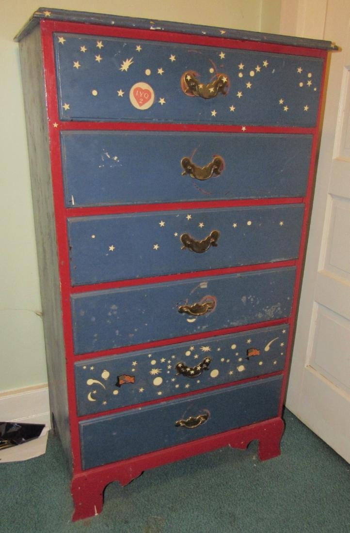 Red & Blue Chest of Drawers Dresser