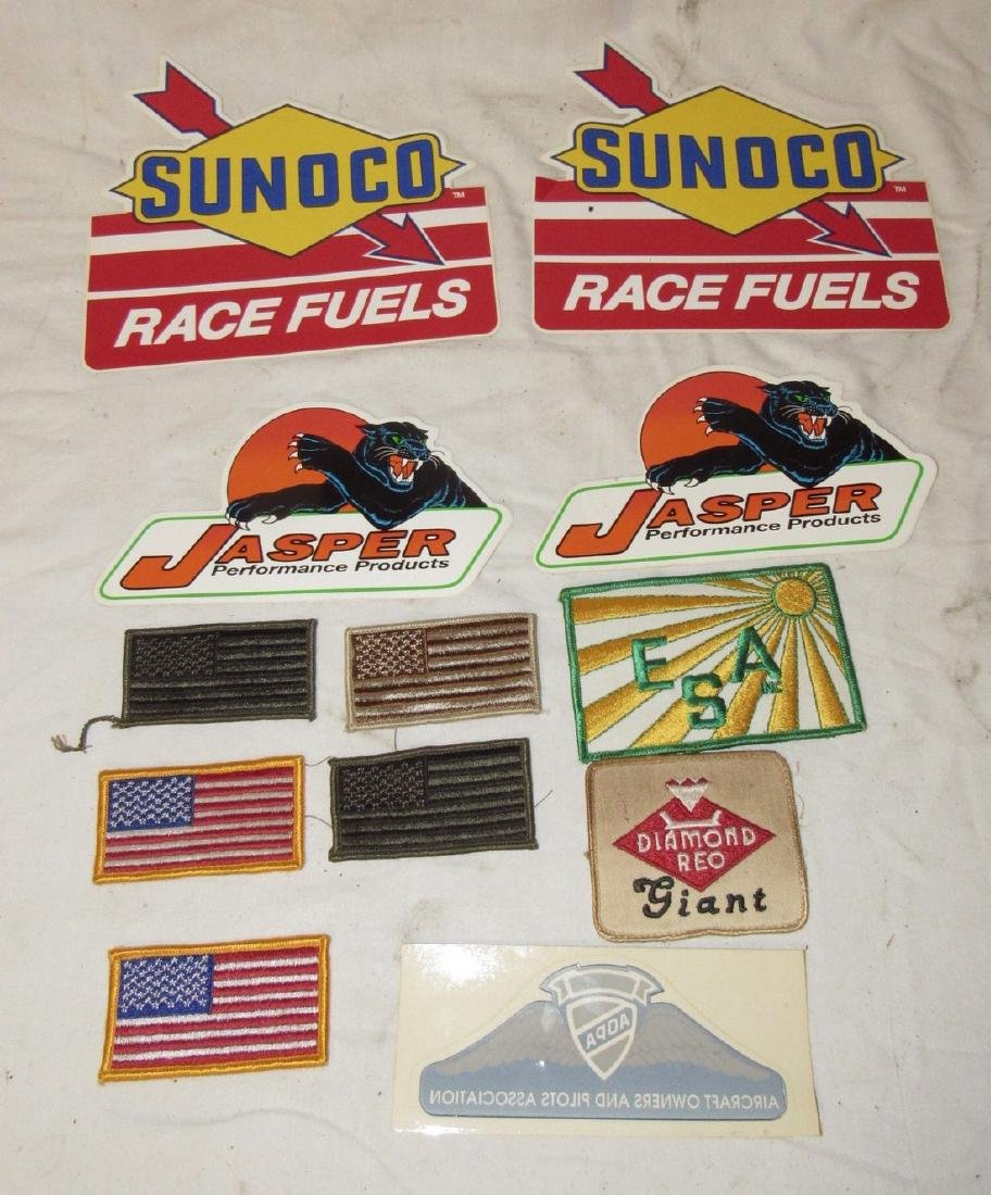 Vintage Sunoco Race Fuel Decals Flag Patches