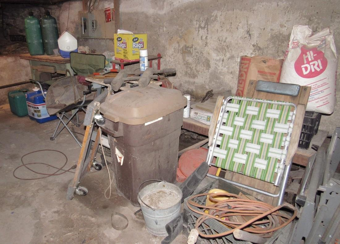 Partial Basement Contents Fuel Garbage Cans Work Tables